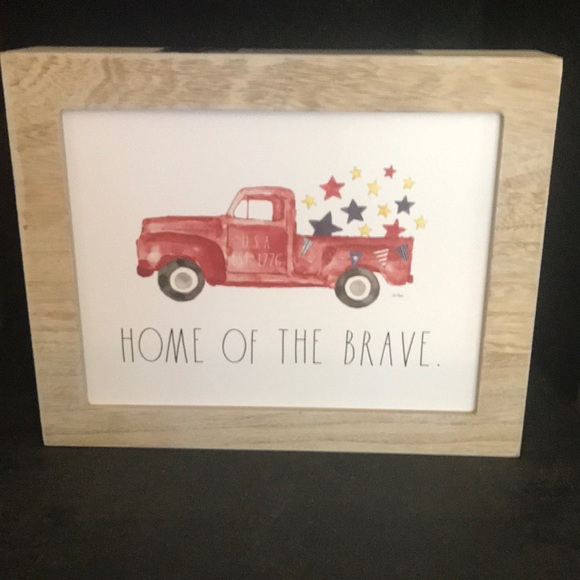 Rae Dunn HOME OF THE BRAVE Red Truck Picture